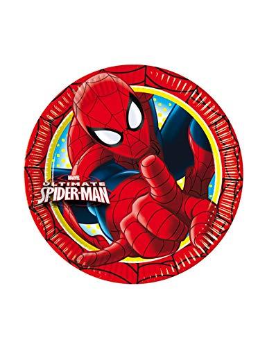 Procos 81784 – Assiettes Papier Ultimate Spider Man, Ø20 cm, 8 pièces, Rouge/Bleu