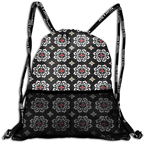 AZXGGV Drawstring Backpack Rucksack Shoulder Bags Gym Bag Sport Bag,Floral Ornament Motifs On Dark Background with Wavy Lines Abstract Ancient Design
