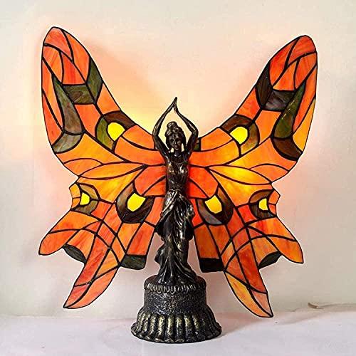 TOPNIU Vidrieras Europea Retro Bronce Metal Mesa de Metal lámpara Estilo Tiffany Estilo Manchado Mariposa Estilo de Belleza Sala de Estar Dormitorio Escritorio lámpara