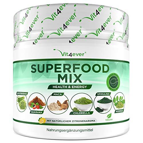 Kombination aus Superfoods - 420 g Pulver (Shake) mit Gerstengras, Guarana, Maca, Chlorella, Spirulina, Moringa - 100{753eb6a2835ae257a740b136218e26c3d49e163b1ad094247bbcde9e1cb15cde} natürlicher Power Smoothie - Mit Zitronen Aroma - Vegan