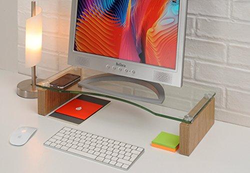 TTAP Glass Monitor Riser Stand - Oak Desk TV Laptop Shelf, Computer Desktop Monitor Lift
