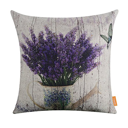 LINKWELL 18'x18' Vintage Wood Look Purple Lavender Flower Home Burlap Throw Pillow Case Cushion Cover (CC1142)