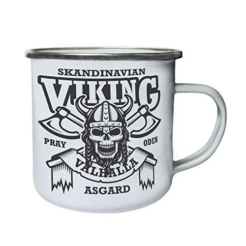 Scandinavian Viking Skull Asgard Rétro, étain, émail tasse 10oz/280ml w515e