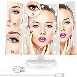 Espejo Maquillaje con Luz ,Espejo de Mesa Tríptica Espejo con Aumentos 10x, 3X, 2X, 1x Iluminacíon 22 Led Pantalla táctil Lámparas Rotación de 180° Espejo Cosmético Carga con USB o Batería