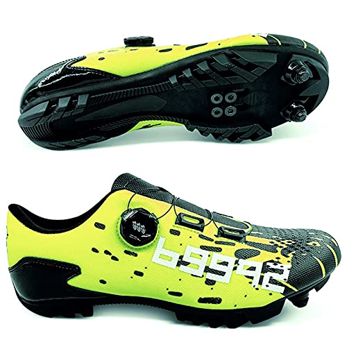 ZHBW Zapatillas De Bicicleta Carretera MTB con Bloqueo Automático,Deporte para Hombre,Montaña Profesionales Mujer (Color : Green MTB, She Size : 46EU)