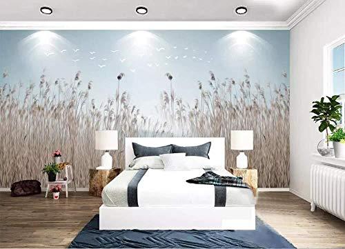 3D muurschildering Custom Chinese stijl Scandinavische minimalistische bloem en riet Refresh nachtkastje muur decoratie kunst moderne decoratie (W)350x(H)250cm (W)350x(h)250cm