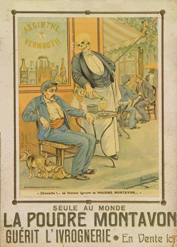 Vintage bieren, wijnen en sterke drank 'Absint - La Poudre Montavon, een poeder tegen dronkenschap dat op de markt wordt gebracht voor vrouwen die zich zorgen maken over het drinken van hun man', 1927, 250gsm Zacht-Satijn Laagglans Reproductie A3 Poster
