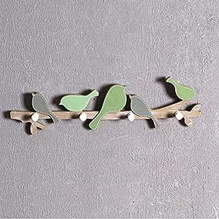 European Retro Style Hanger Organizer Diy Simple Hook Green Bird Wood Coat Sundries Wall Mounts - Bird Hook