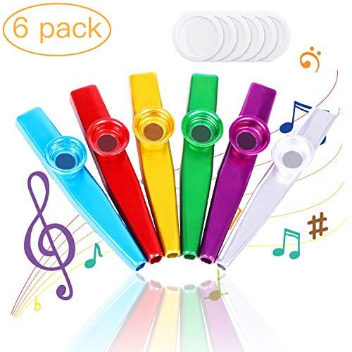 Kazoo, 6 Stücke Kazoo Metall und Membranen,Kazoo Instrument Musikinstrument für Gitarre, Ukulele, Violine, Klaviertastatur für Kinder (Blau, Grün, Rot, Fuchsia, Gold, Silber)