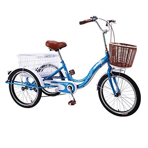OFFA Dreirad Tricycle Adult Seniors16 Inch Trike, Mit Dreiräder Großem Einkaufswagen Männer Und Frauen Bike Fahrräder Trikes 3 RadFahrrad, Lastenfahrrad,High Carbon Stahlrahmen, Hinterradbremse