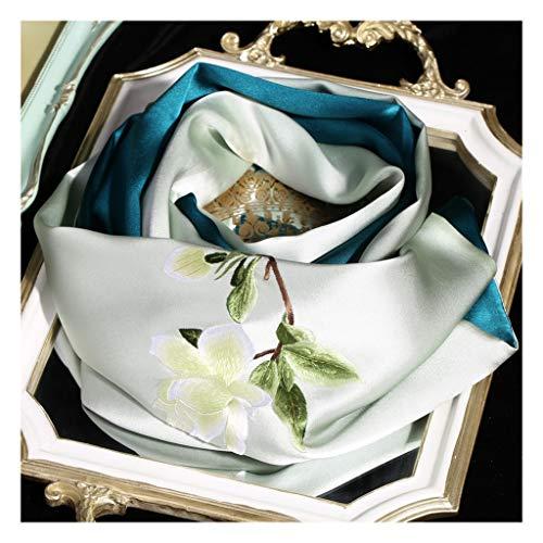 Moda Bufanda Chal Sensación de primavera y otoño bordado de la mano suave y sedosa grande del abrigo del mantón de la bufanda bufanda de seda de satén bufanda principal de gama alta del bordado Bufand