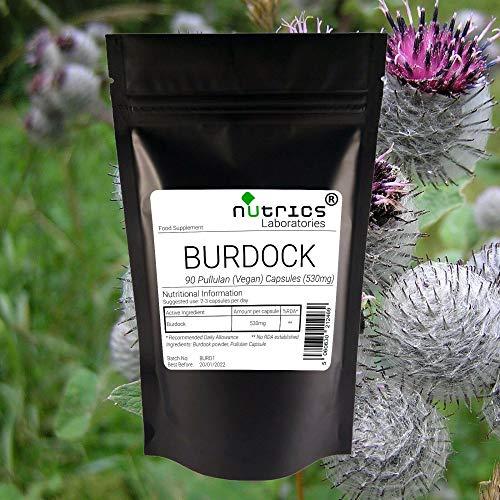 Nutrics 100% Pure 530mg Burdock Root   360 Vegan Capsules(4 Month Supply)   Made in The UK by Nutrics Laboratories   Suitable for Vegan Vegetarian Halal Kosher