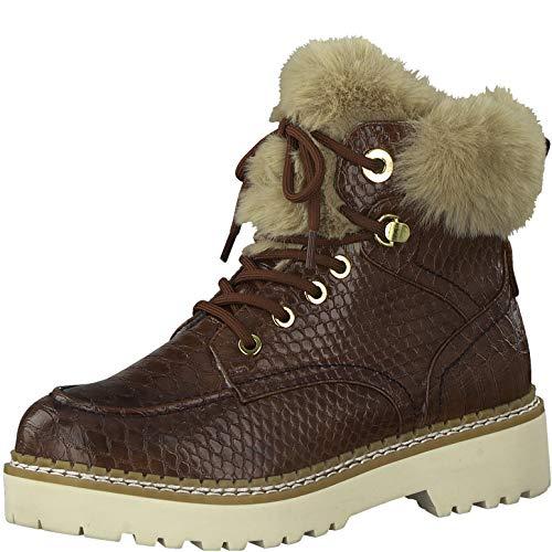 Tamaris Damen Stiefel, Frauen Schnürstiefel,lose Einlage, Boots Combat schnürung gefüttert weiblich Ladies Women's,Brandy Croco,39 EU / 5.5 UK