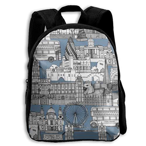 jenny-shop London Calke Abbey Blue Toile Toddler Backpack 13 'Kids School Backpacks for Boys and Girls