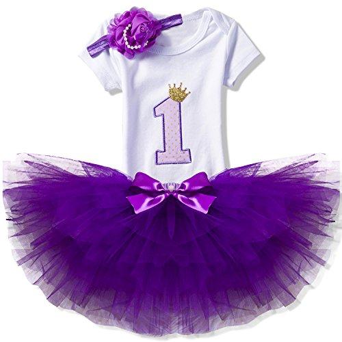 NNJXD Recién Nacida Tutú Primer Cumpleaños 3 Piezas Trajes Mameluco + Falda y Diadema Tamaño (1) 1 Año Rosa