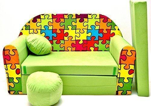 Pro Cosmo Z34-Divano letto per bambini con pouf/poggiapiedi/cuscino, in tessuto, multicolore, Cotone, 168 x 98 x 60 cm
