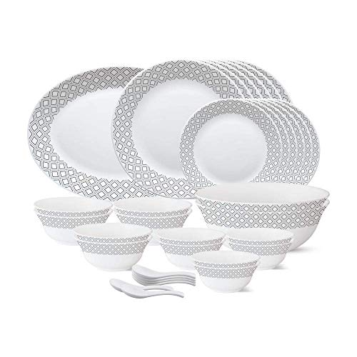Larah by Borosil - Tiara Series,33 Pcs, Opalware Dinner Set, White (Cone Black Gray)
