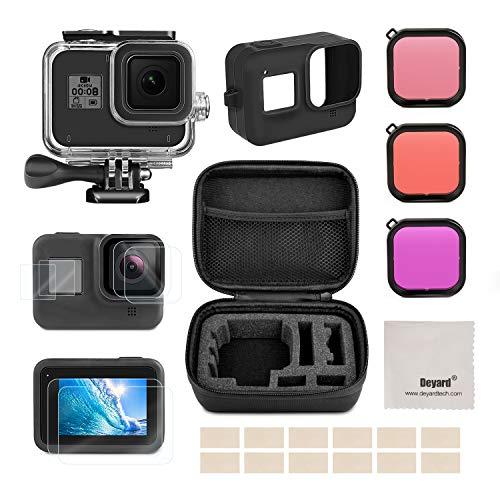 Deyard kit de accesorios para GoPro Hero 8 Black con funda a prueba de golpes + funda a prueba de agua + protector de pantalla de vidrio templado + funda de silicona para GoPro Hero 8 Black