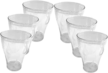 TKP PRODUCTS Unbreakable 200ml Drinking Glass Set of 6 Pcs Transparent Lychee Design