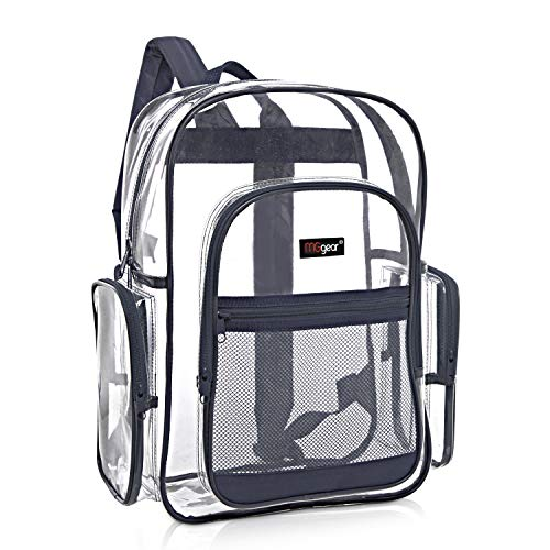 MGgear Sicherheits-Rucksack mit marineblauem Rand, transparent, PVC, 43 cm
