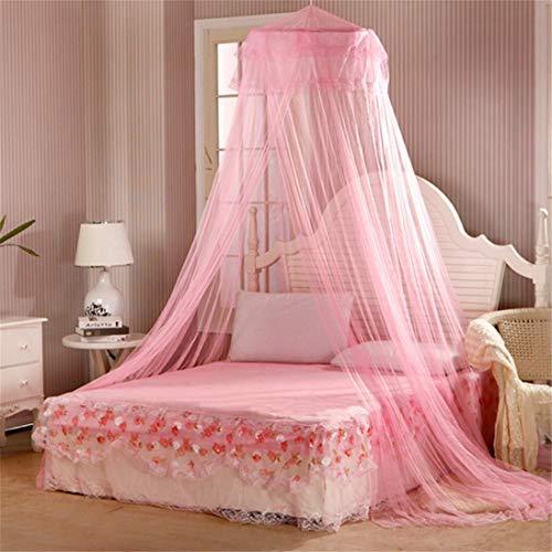 Ericcay Sanwood Lovely Princess Rund Dome Casual Chic Bed Netz Moskitonetz Rose Einheits Größe Östliches Mittelmeer Stil Süße Dekoration (Color : Rose, Size : Size)