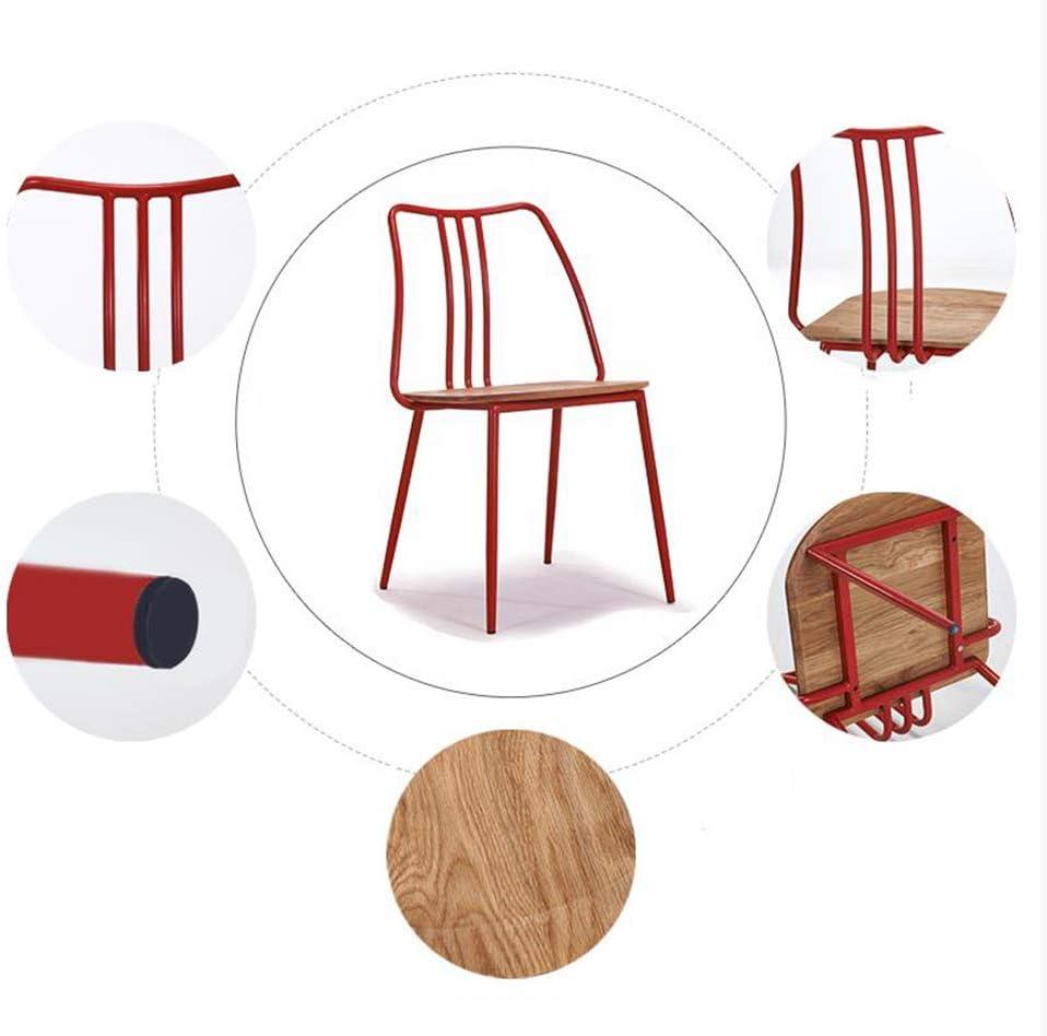 Chaise de Salle à Manger Chaise de loisirs en bois massif américain rétro en fer forgé (Color : White) Red