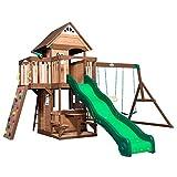Backyard Discovery Mount Triumph Aire de Jeux en Bois   avec balançoire / Toboggan / Cuisine de Jeu / Barre de trapèze   Maison Enfant Exterieur