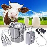 SKYWPOJU Conjunto de máquina de ordeño eléctrica, máquina de ordeño de Bomba de vacío eléctrica portátil Hecha de Acero Inoxidable para ordeñar Vacas y ovejas (Color : Cattle, Size : 7L)