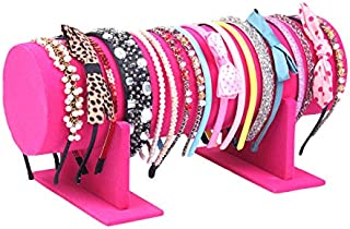 Yi-Yi Velvet Hovering T-Bar Detachable Jewelry Headband Hair Hoop Hairband Hair Clasp Holder Display Stand Rack Organizer (Hot Pink)