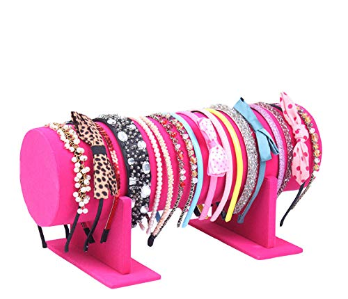 Yi-Yi Velvet Hovering T-Bar Detachable Jewelry Headband Hair Hoop Hairband Hair Clasp Holder Display Stand Rack Organizer (Hot Pink) …