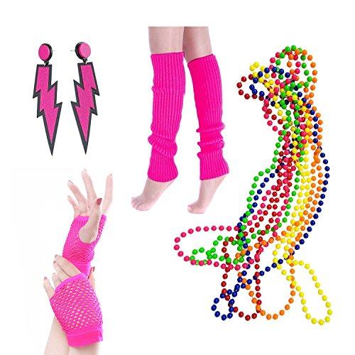 BigLion 80er Party Kleid Zubehör Beinwärmer Blitz Neon Ohrringe Fischnetzhandschuhe Kunststoff Neon Mehrfarbig Perlenkette Perlen Halsketten Fluoreszierende Perlen Party Kostüm Zubehör Set (A1)