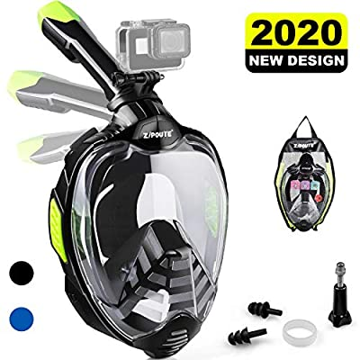 ZIPOUTE Snorkel Mask Full Face, Foldable Full Face Snorkel Mask with Detachable Camera Mount and Earplugs, 180 Panoramic View Anti-Fog Anti-Leak Snorkeling Mask for Adults (Black, L/XL)