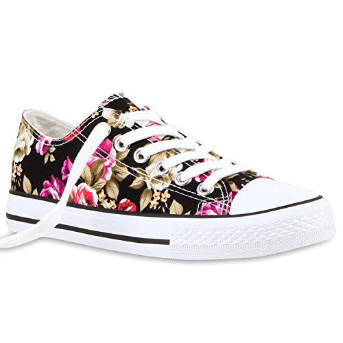 stiefelparadies Damen Sneakers Turn Freizeit Low Sneaker Übergrößen Prints Glitzer Denim Schuhe 118912 Schwarz Blumen 36 Flandell