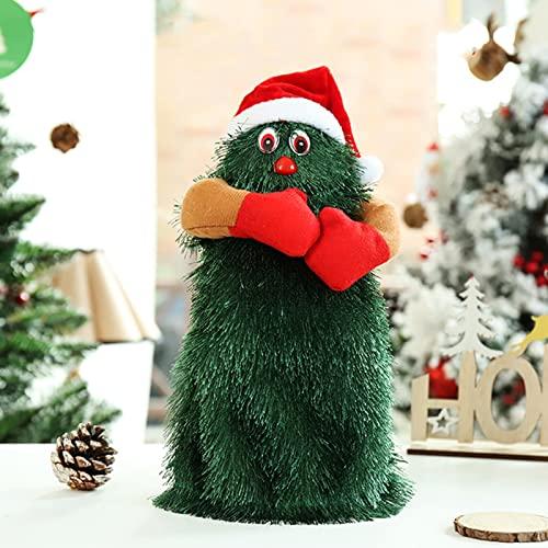 RENSHUYU 12 Pulgadas Árbol De Navidad Que Canta Y Baila Juguetes De Peluche, Verde Lindo Divertido Papá Noel Musical Juguete Divertido Decoración Navideña 3 Pilas AA (No Incluidas)