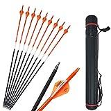 SHARROW 12pcs Flechas de Carbono 30 Pulgadas con Flecha Carcaj Spine 500 para Arco Compuesto Recurvo Flechas de Caza (Naranja)