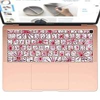 igsticker MacBook Air 13inch 2018 専用 キーボード用スキンシール キートップ ステッカー A1932 Apple マックブック エア ノートパソコン アクセサリー 保護 010342 フラワー 花 赤
