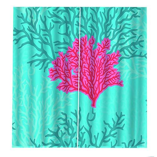 wangcheng1 Unterwasserpflanzen-Vorhang Blickdicht Kinderzimmer Gardinen mit Ösen Verdunkelungsvorhang für Schlafzimmer Thermo Vorhänge 2 Stücke 168X229cm(BxH)