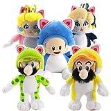 5 Uds Super Mario Bros Juguete De Felpa Mario Luigi Sapo Princesa Peach Rosalina Cosplay Gato Animal...