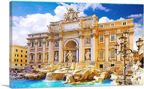 "ARTCANVAS Fountain di Trevi Rome Italy Canvas Art Print - 26"" x 18"" (0.75"" Deep)"