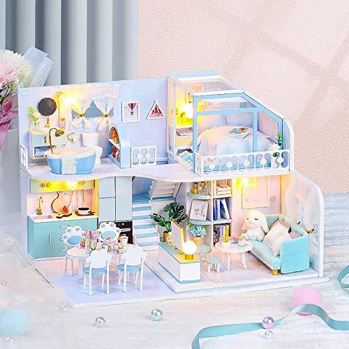 ZMHVOL Puppenhaus Miniaturen Kit Puppenhaus Möbel Zubehör Spielzeug DIY Dollhouse Holz Puppenhäuser Puppenhaus Kit mit Musik LED Spielzeug WANGHN (Color : -)