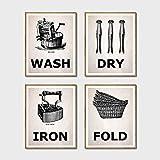 QZHSCYB Impresiones para lavandería Lavar y secar y Planchar y Doblar Carteles Antiguos Cuadros de Pintura en Lienzo Sala de lavandería Decoración de Arte de Pared -30x40cmx4 pcs (sin Marco)
