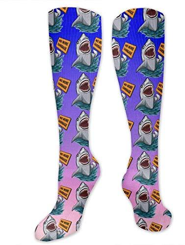 gfhfdjhf Kniehohe Socken Der Hai Nie mehr Müll Kniehohe Strümpfe Sportliche Socken Personalisierte Geschenksocken für Männer Frauen Teenager Mädchen