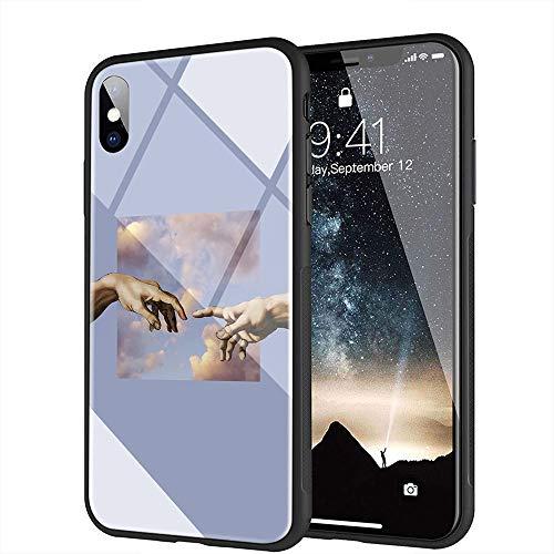 iPhone 6 Plus Funda, iPhone 6s Plus Funda, Cubierta Trasera de Vidrio Templado, Silicona Suave, Compatible con iPhone 6 Plus/6s Plus AMA-88 Michelangelo Art Statue Aesthetic