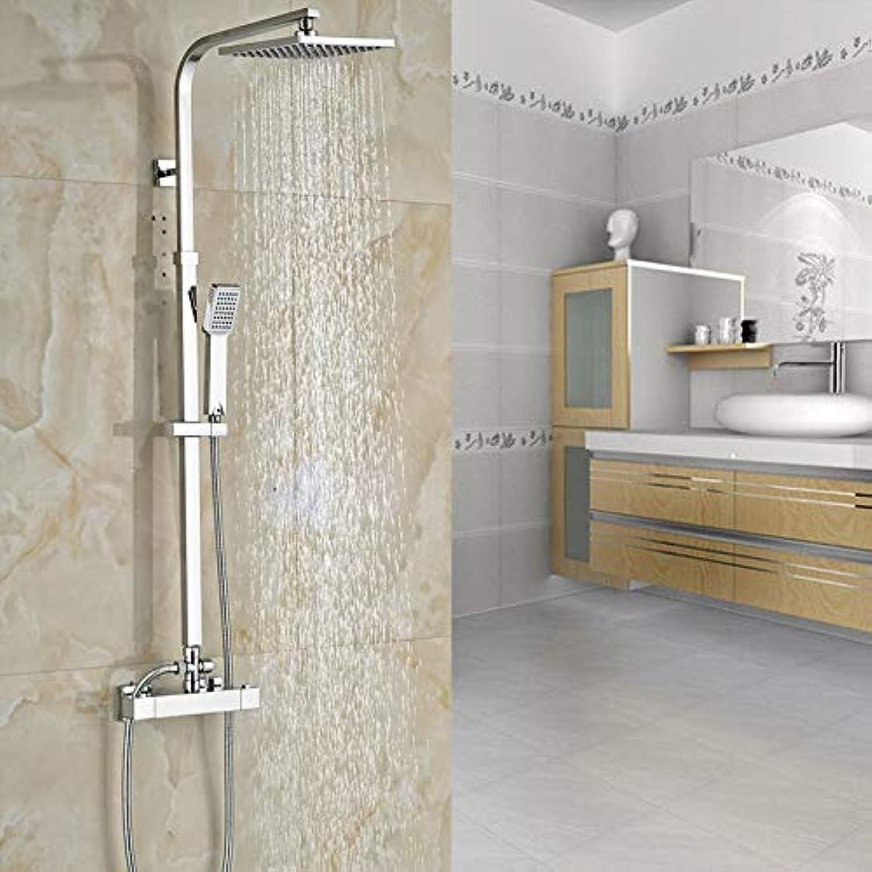 LWSFZAS Wandmontage Badewanne Brausebatterie Wasserhahn Temperaturregler Mischventil Brausegarnitur Doppelgriff 8 Regenduschkopf