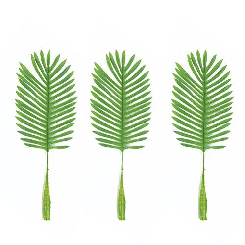 Luoem Lot de 10 feuilles de paume tropicales artificielles Feuille unique Vert Faux pour la salle de séjour maison Décoration (lumière verte)