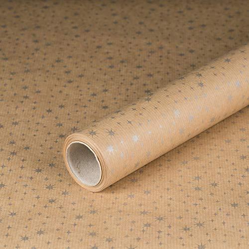 Geschenkpapier Silberne Sterne, Kraftpapier, gerippt, 60 g/m², Geburtstagspapier, Weihnachtspapier Vintage - 1 Rolle 0,7 x 10 m