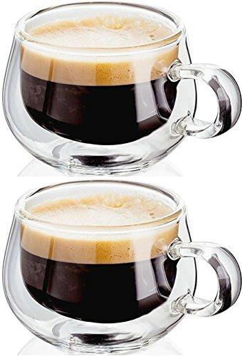 Judge Taza de Cristal café expreso, Transparente, 75ml, Juego de 2 Piezas