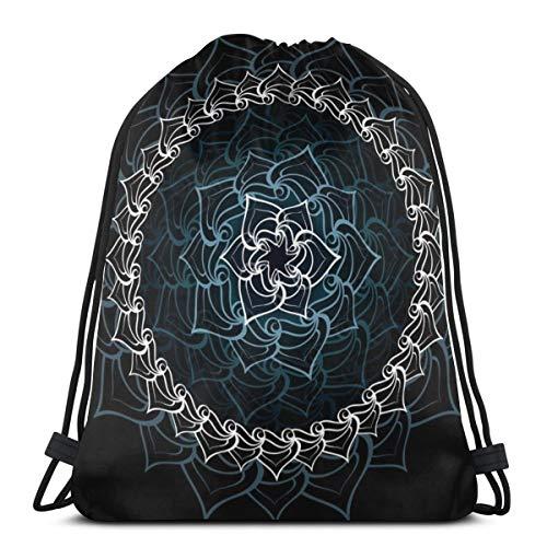 Zhark Lotus Mandala - Mochila de deporte con cordón para llevar al aire libre, viajes, escuela, mochila para mujeres y hombres