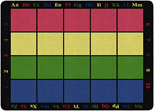 "Flagship Carpets FE126-32A Learning Grid Seating Carpet, Colorful Letters and Numbers Border This Rug, Kids School, 5'10"" x 8'4"" Seats 20, 70"" Length, 100"" Width, Blue/Green/Yellow/Red"