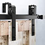 Homacer Sliding Barn Door Hardware Bypass Double Door Kit, 12FT Flat Track U-Shape Bracket Classic Design Roller, Black Rustic Heavy Duty Interior Exterior Use